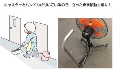廊下やフロア、施工現場の乾燥に便利なキャスター型